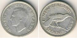 6 Пенни Новая Зеландия Серебро