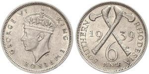 6 Пенни Южная Родезия (1923-1980) Серебро Георг VI (1895-1952)