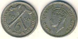 6 Пені Південна Родезія (1923-1980) Нікель/Мідь Георг VI (1895-1952)
