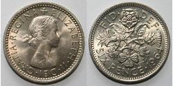 6 Пені / 1 Шестипенсовик Велика Британія (1922-) Нікель/Латунь Єлизавета II (1926-)