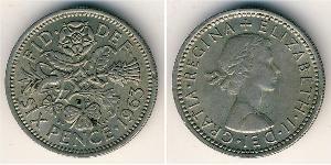 6 Пені / 1 Шестипенсовик Велика Британія (1922-) Нікель/Мідь Єлизавета II (1926-)