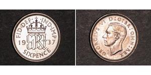 6 Пені / 1 Шестипенсовик Велика Британія (1922-) Срібло Георг VI (1895-1952)