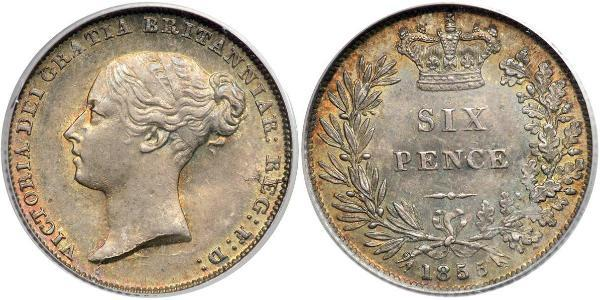 6 Пені / 1 Шестипенсовик Сполучене королівство Великобританії та Ірландії (1801-1922) Срібло Вікторія (1819 - 1901)