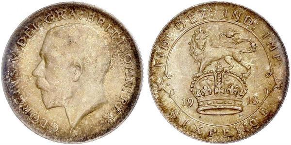 6 Пені / 1 Шестипенсовик Сполучене королівство Великобританії та Ірландії (1801-1922) Срібло Георг V (1865-1936)