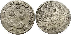6 Grosh República de las Dos Naciones (1569-1795) Plata Juan III Sobieski (1629-1696)