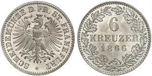 6 Kreuzer 法蘭克福自由市 銀