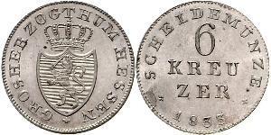 6 Kreuzer 黑森-达姆施塔特 (1806 - 1918) 銀 路德维希二世 (黑森大公)