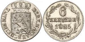 6 Kreuzer Duché de Nassau (1806 - 1866) Argent Guillaume de Nassau (1792-1839)