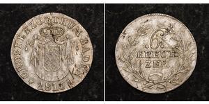 6 Kreuzer Grand Duchy of Baden (1806-1918) Argento