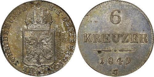 6 Kreuzer Impero austriaco (1804-1867) Argento
