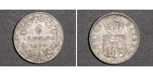 6 Kreuzer Regno di Baviera (1806 - 1918) Argento Ludovico I di Baviera (re)(1786 – 1868)