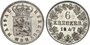 6 Kreuzer Stati federali della Germania / Nassau (stato) (1806 - 1866) Argento Adolfo di Lussemburgo