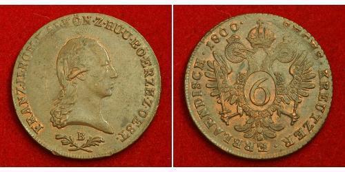 6 Kreuzer Sacro Imperio Romano (962-1806) Cobre Francis II, Holy Roman Emperor (1768 - 1835)
