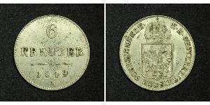 6 Kreuzer Imperio austríaco (1804-1867) Plata