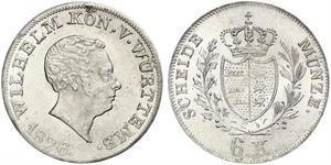 6 Kreuzer Reino de Wurtemberg (1806-1918) Plata Guillermo I de Wurtemberg