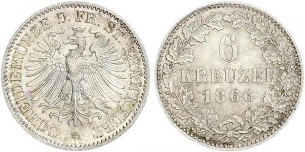6 Kreuzer Freie Stadt Frankfurt Silber