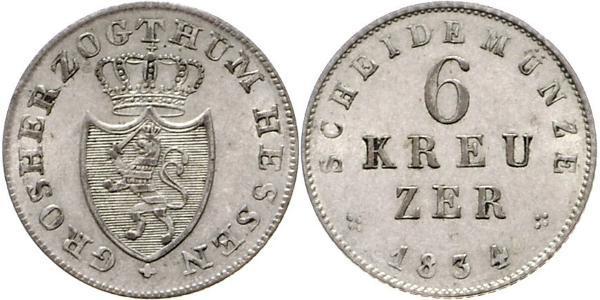 6 Kreuzer Großherzogtum Hessen (1806 - 1918) Silber Ludwig II. (Hessen-Darmstadt)