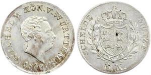 6 Kreuzer Königreich Württemberg (1806-1918) Silber Wilhelm I. (Württemberg)