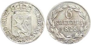 6 Kreuzer Duchy of Nassau (1806 - 1866) Silver William, Duke of Nassau