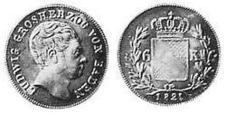 6 Kreuzer Grand Duchy of Baden (1806-1918) Silver Louis I, Grand Duke of Baden (1763 - 1830)