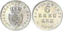 6 Kreuzer Grand Duchy of Hesse (1806 - 1918) Silver Louis II, Grand Duke of Hesse