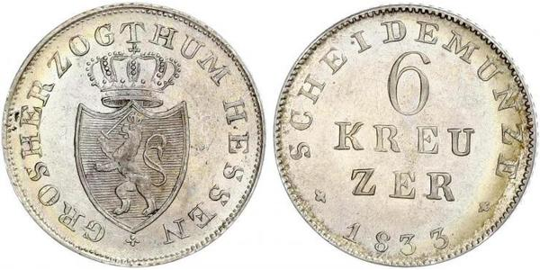 6 Kreuzer Grand Duchy of Hesse (1806 - 1918) Silver Louis II, Grand Duke of Hesse