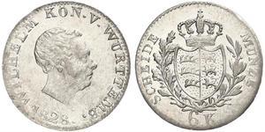 6 Kreuzer Kingdom of Württemberg (1806-1918) Silver William I of Württemberg