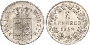 6 Kreuzer Kingdom of Württemberg (1806-1918) Silver