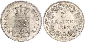 6 Kreuzer Kingdom of Württemberg (1806-1918) Silver
