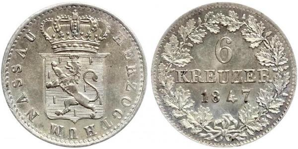 6 Kreuzer Duchy of Nassau (1806 - 1866) / States of Germany Silver Adolphe, Grand Duke of Luxembourg