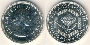 6 Penny Afrique du Sud Argent Elizabeth II (1926-)