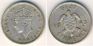6 Penny Fidji Argent George VI (1895-1952)