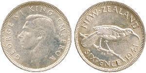 6 Penny Nouvelle-Zélande Argent George VI (1895-1952)