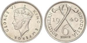 6 Penny Southern Rhodesia (1923-1980) Argent George VI (1895-1952)