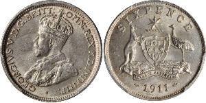 6 Penny Australia (1788 - 1939) Argento Giorgio V (1865-1936)