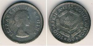 6 Penny Sudafrica Argento Elisabetta II (1926-)