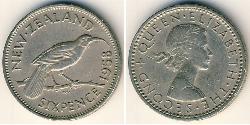 6 Penny New Zealand Copper/Nickel