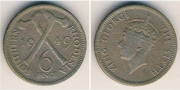 6 Penny Southern Rhodesia (1923-1980) Copper/Nickel George VI (1895-1952)