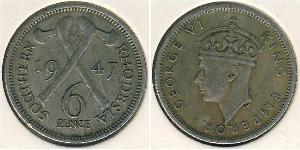 6 Penny Southern Rhodesia (1923-1980) Níquel/Cobre Jorge VI (1895-1952)