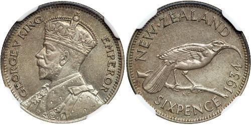 6 Penny Nueva Zelanda Plata Jorge V (1865-1936)