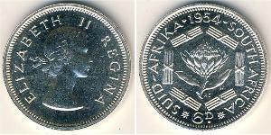 6 Penny Sudáfrica Plata Isabel II (1926-)