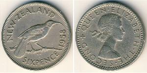 6 Penny Nuova Zelanda Rame/Nichel