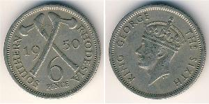 6 Penny Southern Rhodesia (1923-1980) Rame/Nichel Giorgio VI (1895-1952)