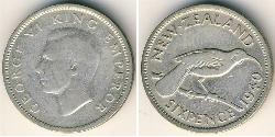 6 Penny Neuseeland Silber