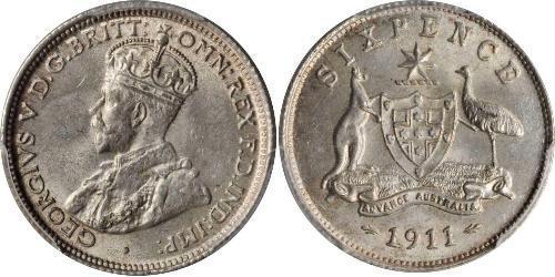 6 Penny Australia (1788 - 1939) Silver George V of the United Kingdom (1865-1936)