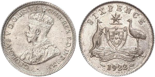 6 Penny Australia (1788 - 1939) Silver George V of the United Kingdom (1865-1936)