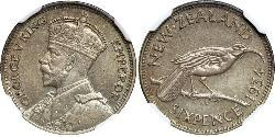 6 Penny New Zealand Silver George V of the United Kingdom (1865-1936)