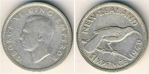 6 Penny New Zealand Silver George VI (1895-1952)