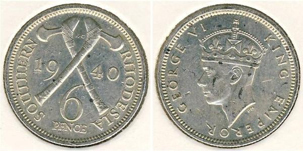 6 Penny Southern Rhodesia (1923-1980) Silver George VI (1895-1952)