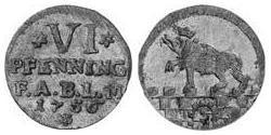 6 Pfennig Anhalt-Bernburg (1603 - 1863) Billon Victor Frederick, Prince of Anhalt-Bernburg (1700 – 1765)